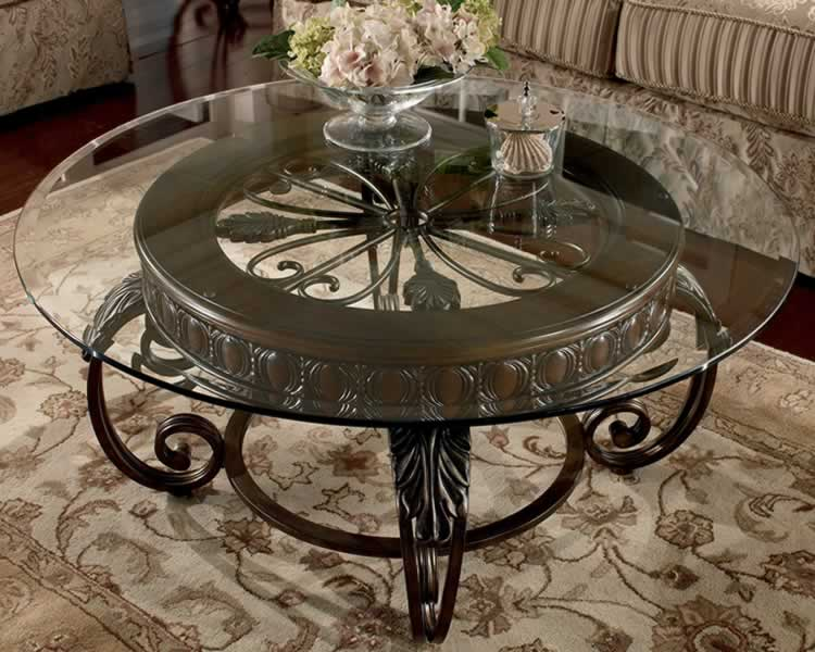 Glass and Metal Coffee Tables   HomesFeed Round glass top table no frame dark coated iron base