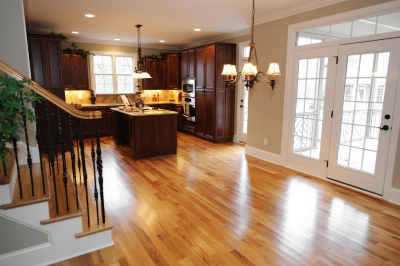 The Engineered Hardwood Flooring Pros and Cons That You Should Know     modern engineered hardwood flooring pros and cons installed in contemporary  kitchen ideas with solid wooden cabinets