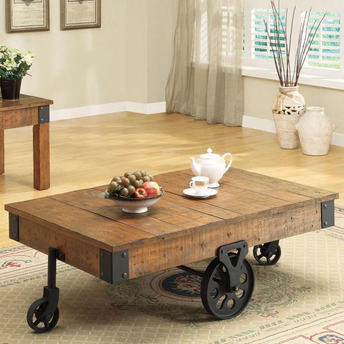 Inspirational Rustic Coffee Table with Wheels for Living ... on Coffee Table Inspiration  id=84848