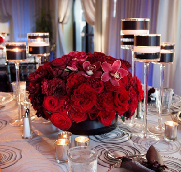 Red Long Low Floral Centerpieces