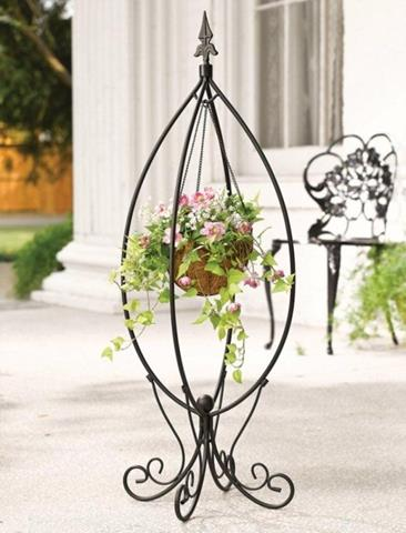 Best Wrought Iron Flower Stand - Unique Design for ... on Hanging Plants Stand Design  id=71358