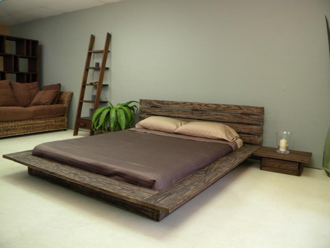 Unique And Natural Wooden Low Profile Platform Bed Frame With Stairs Storage Place