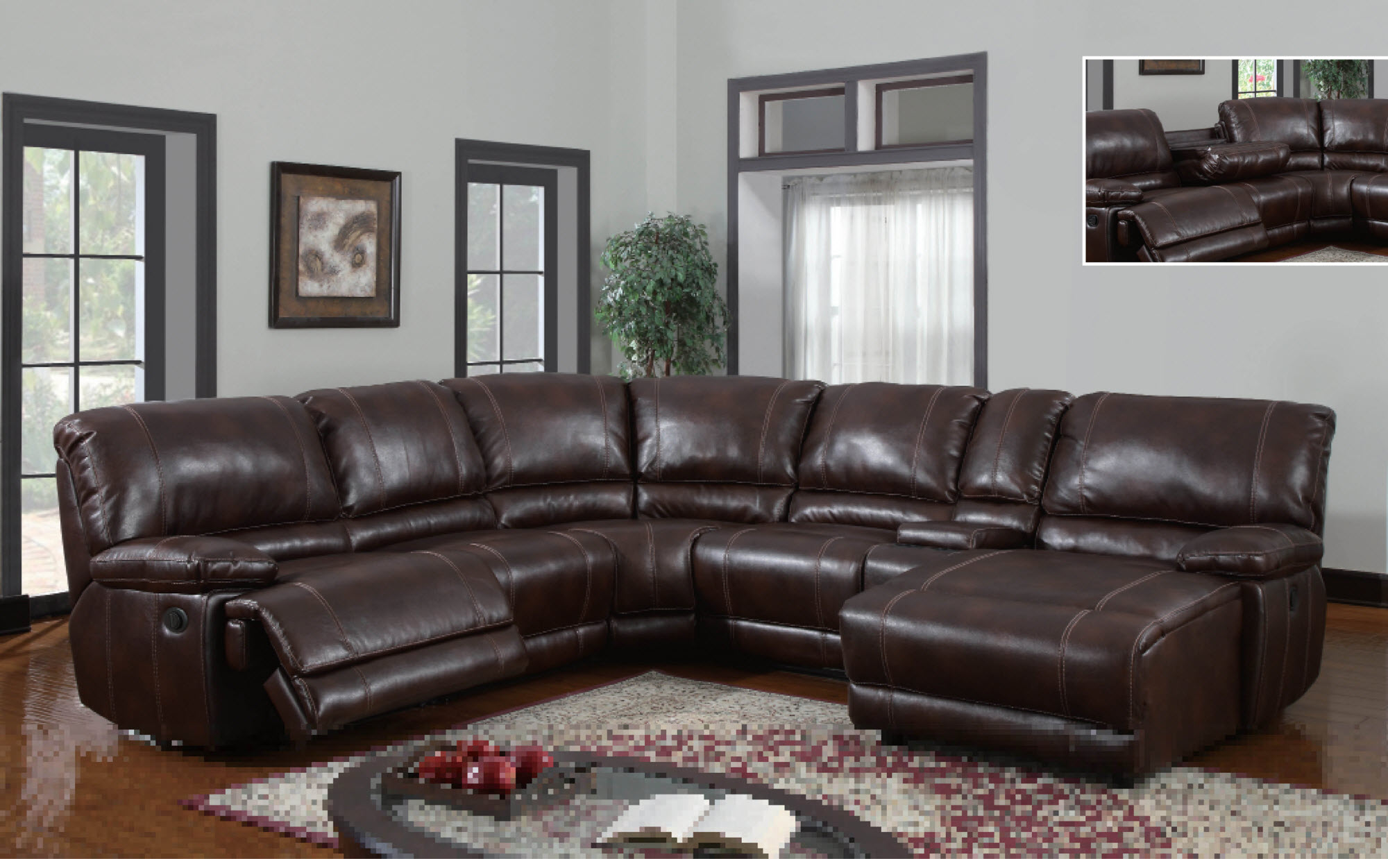 Leather Chaise Brown And Recliner Sectional