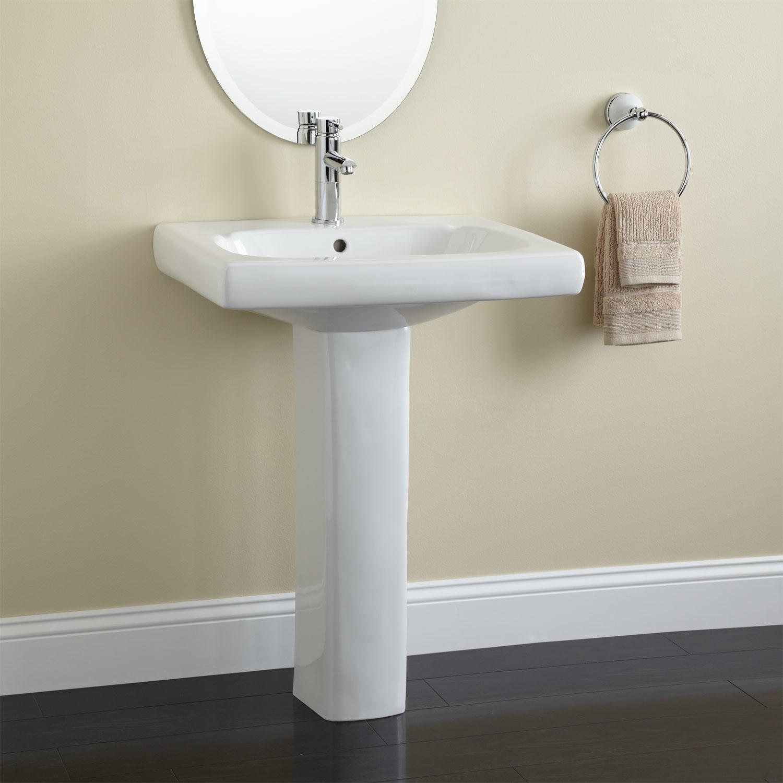 Modern Pedestal Sink With Towel Bar