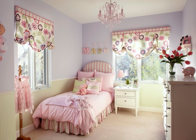 Age Room With Pink Chandelier For S Bedding Fl Curtains And White Cabinet