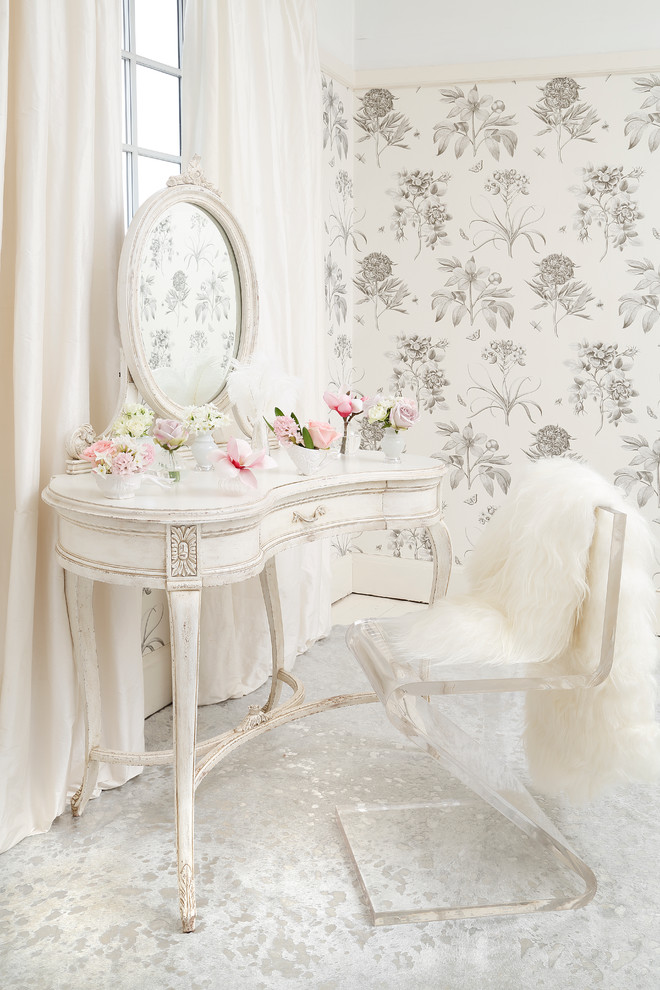 French style dressing table in white modern minimalist acrylic vanity chair