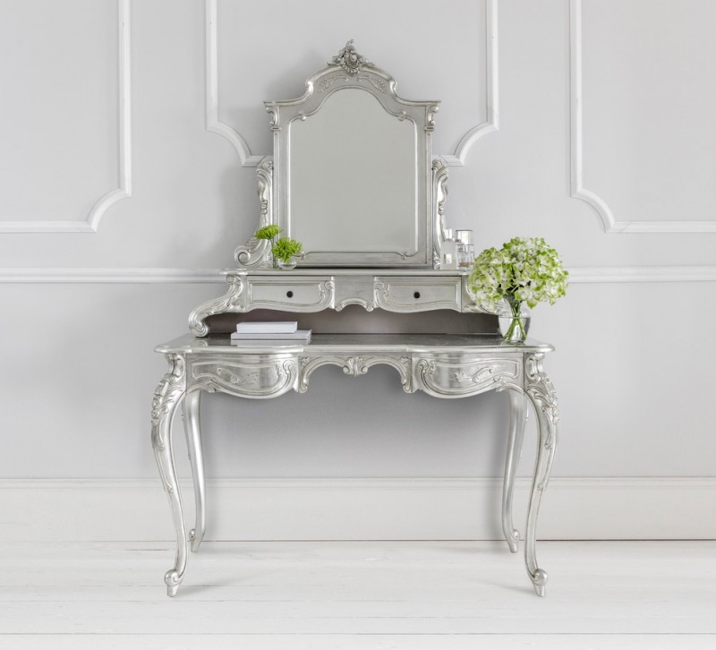 French style makeup vanity with metallic silver finishing adjustable mirror drawers hand carved legs