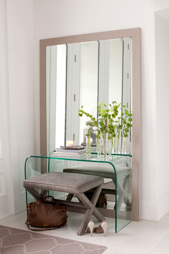 contemporary glass dressing table x base vanity bench in grey large mirror with pale frame