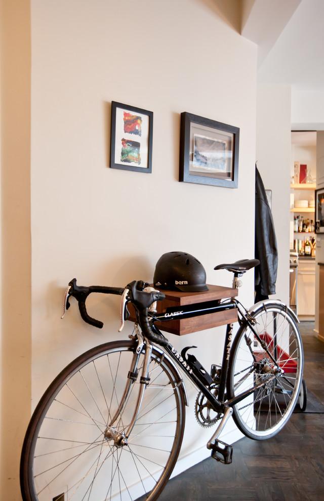eclectic entry hall wall mounted bike rack with helmet shelf