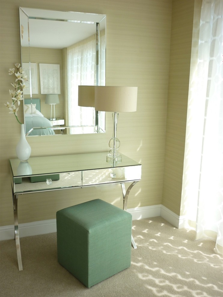 eclectic makeup vanity table with semi curly legs modern minimalist vanity chair in soft turquoise large mirror with mirror frames
