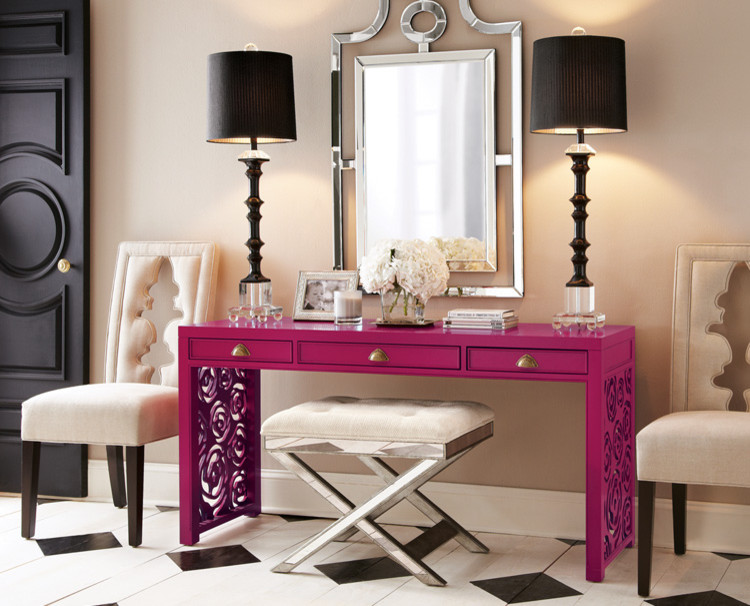 magenta makeup vanity table with grey line accents a couple of table lamps in black wall mounted mirror with mirror frame x base bench