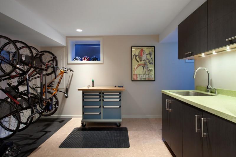 mid century modern kitchen basement with racing bike displays mounted on walls