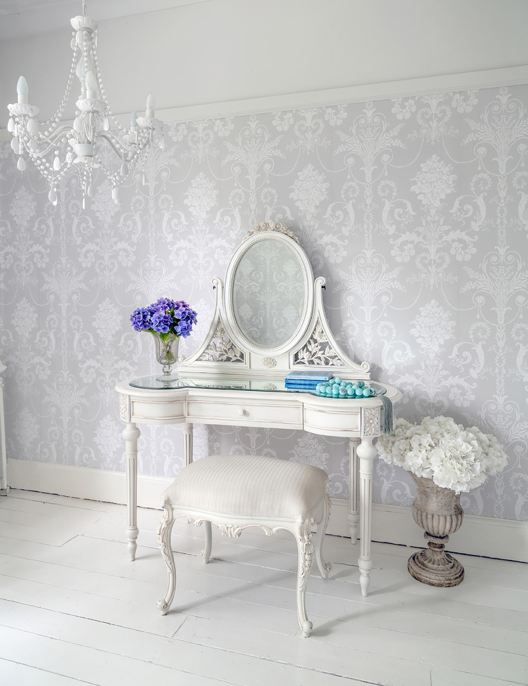 shabby chic and antique makeup vanity table in white antique French style side chair in white