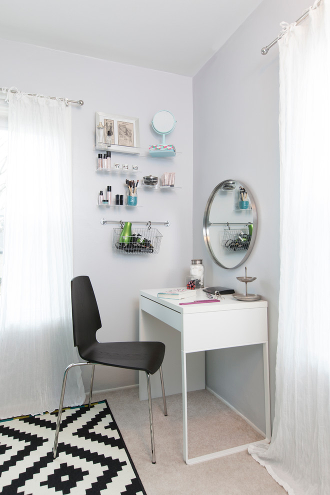 small sized vanity table in white modern black vanity chair chrome framed makeup mirror in round shape