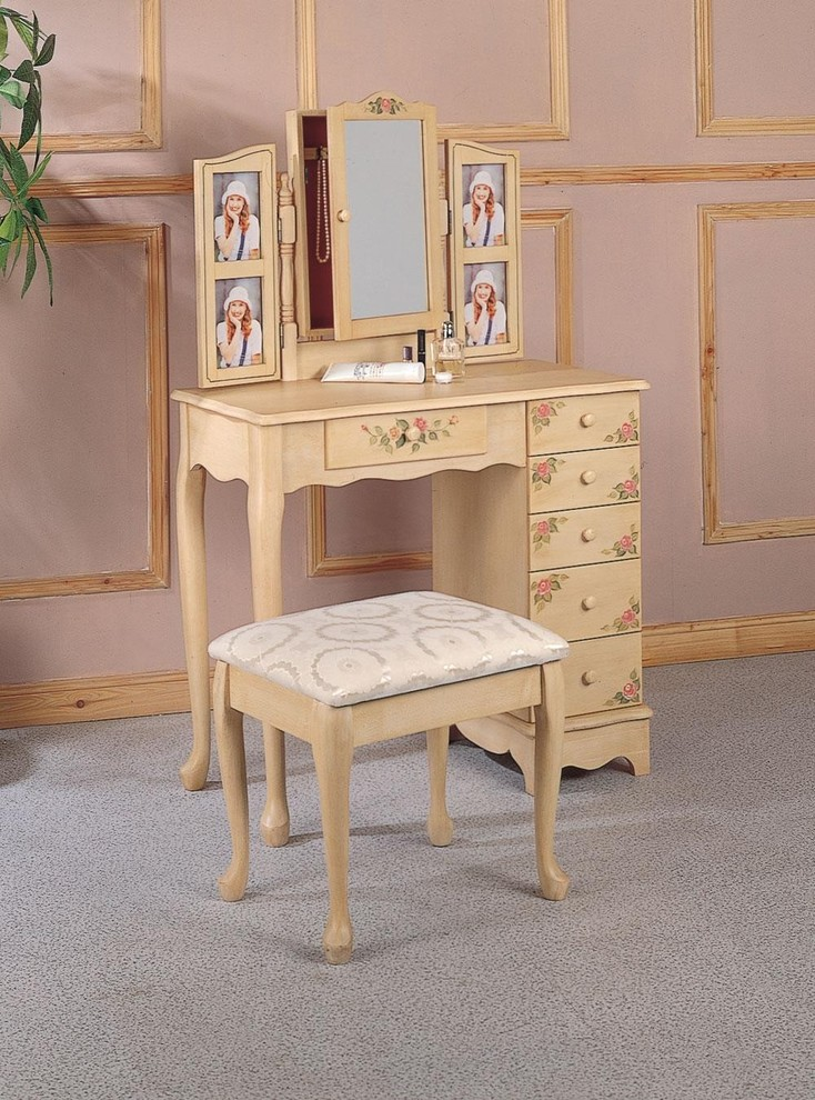 traditional dressing table in wood color convertible mirror built in picture frames wood colored vanity chair