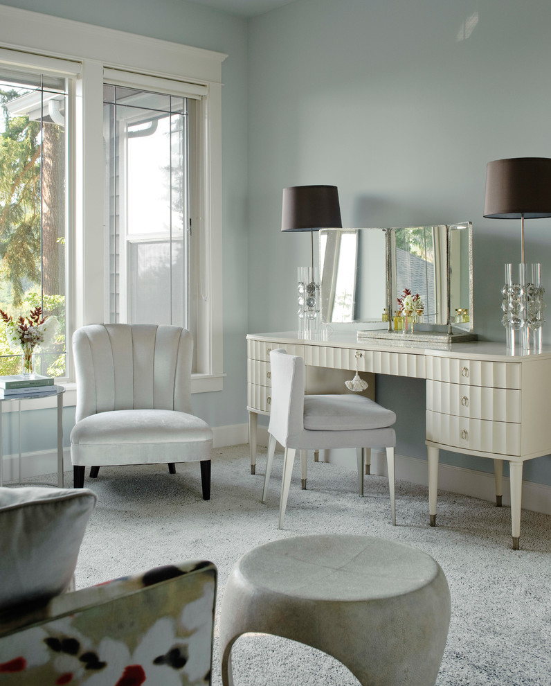 transitional makeup vanity table in white with textured surface and pointed metallic legs square shaped mirror a couple of table lamps with dark shades