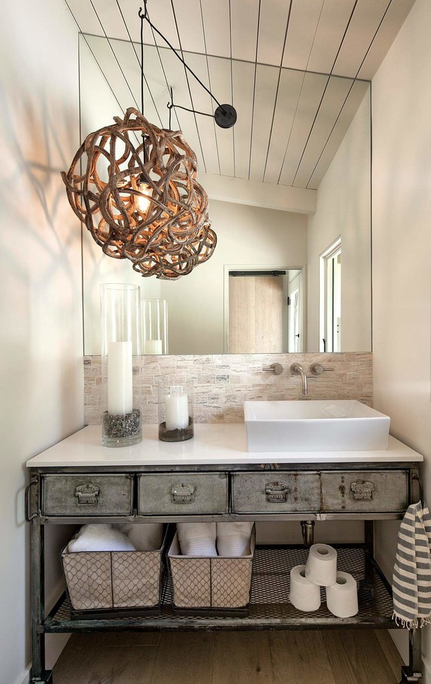 beach style bathroom idea unique light fixture with natural shade frameless vanity mirror drop sink in white white top vanity countertop
