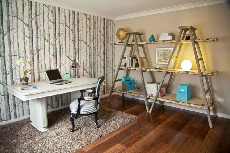 eclectic home office idea ladder shelving unit for books white working table traditional style working table beige fury area rug dark toned wood floors trees wallpaper in grey