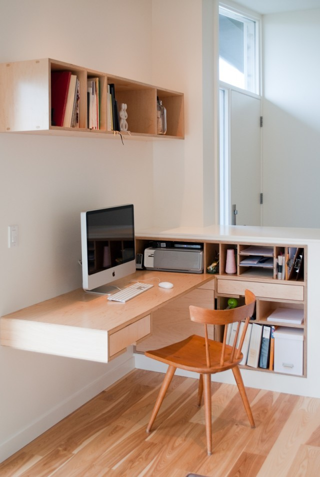 modern home working space wall shelf with maple finishing maple made floating desk integrated with side shelves maple made chair
