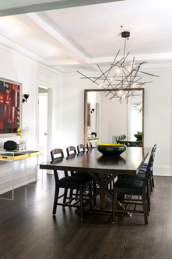 modern white dining room messy sticks chandelier black finishing wood dining furniture dark toned wood floors large wall mirror with wood frames
