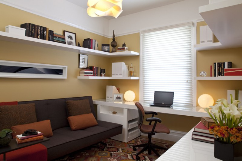 transitional home office mustard yellow walls white wall shelves idea white painted working desk maroon working chair with wheels