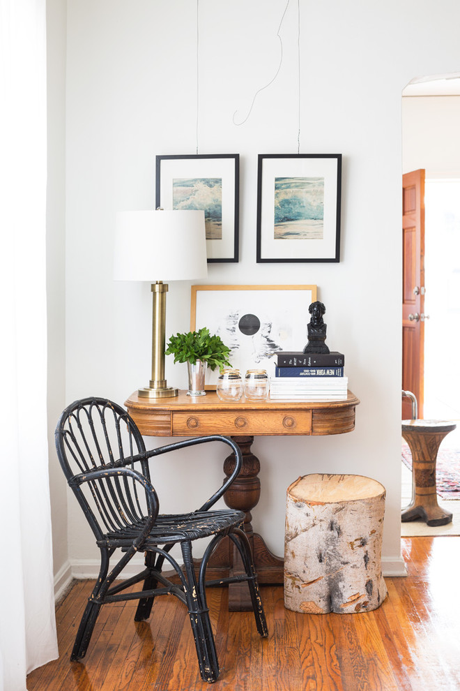 eclectic seating corner shabby black chair log side table traditional wood console table medium toned wood floors