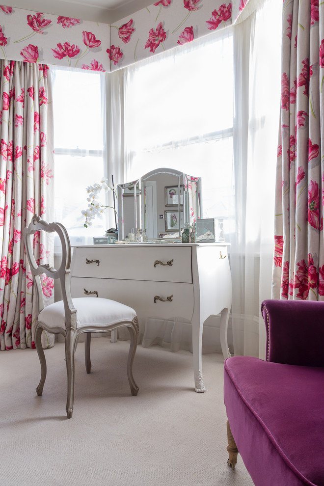 vintage style powder room white vanity with gold toned holders white vanity chair window curtains and window curtains' skirts with bold pink motifs