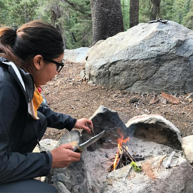 Anissa is making a fire in the backcountry! californiadreamin endlesssummerhellip