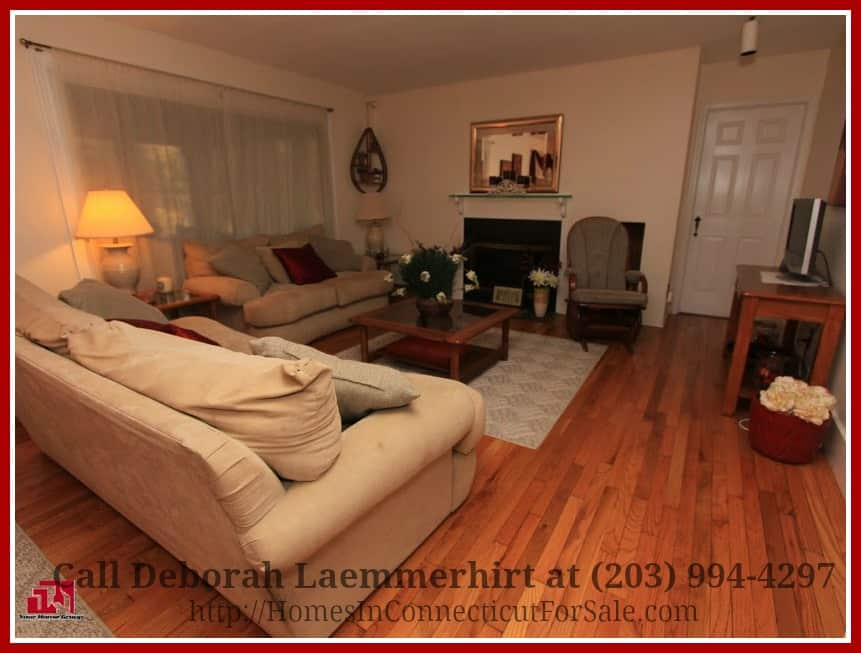 Enjoy the warmth the living room of this exquisite Gaylordsville 4 bedroom equestrian property for sale exudes.