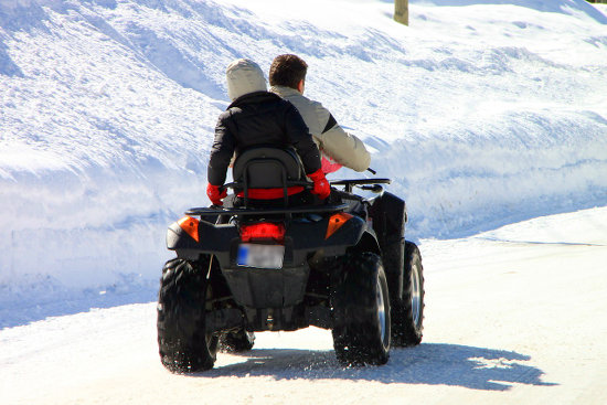 ATV riding on snow.