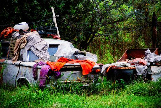 Junk and abandoned cars in the front yard.