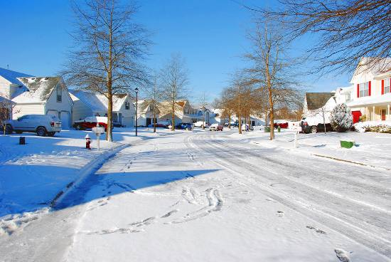 A snowy neighborhood during winter.