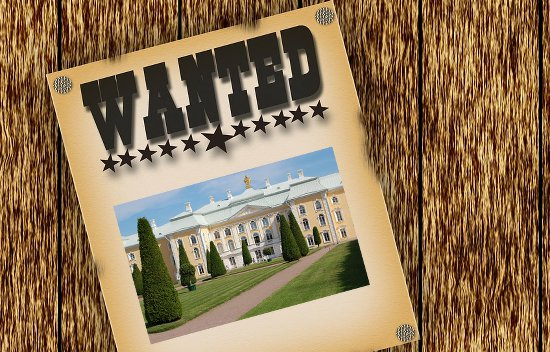 Wanted poster with a palace.