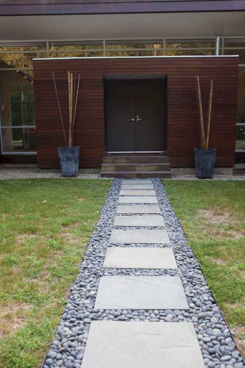 Simple clean modern front yard landscaping ideas (48)