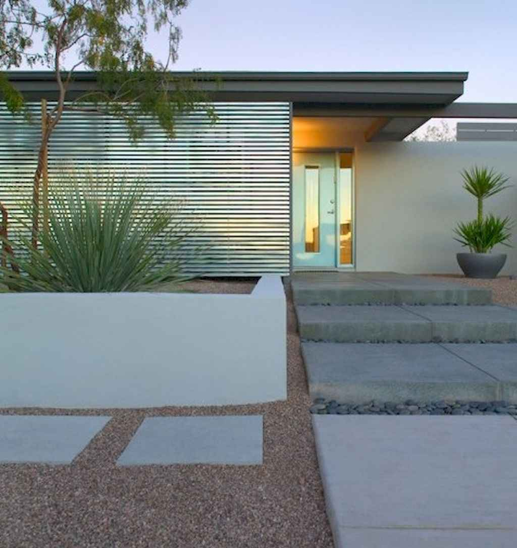 Simple clean modern front yard landscaping ideas (62)
