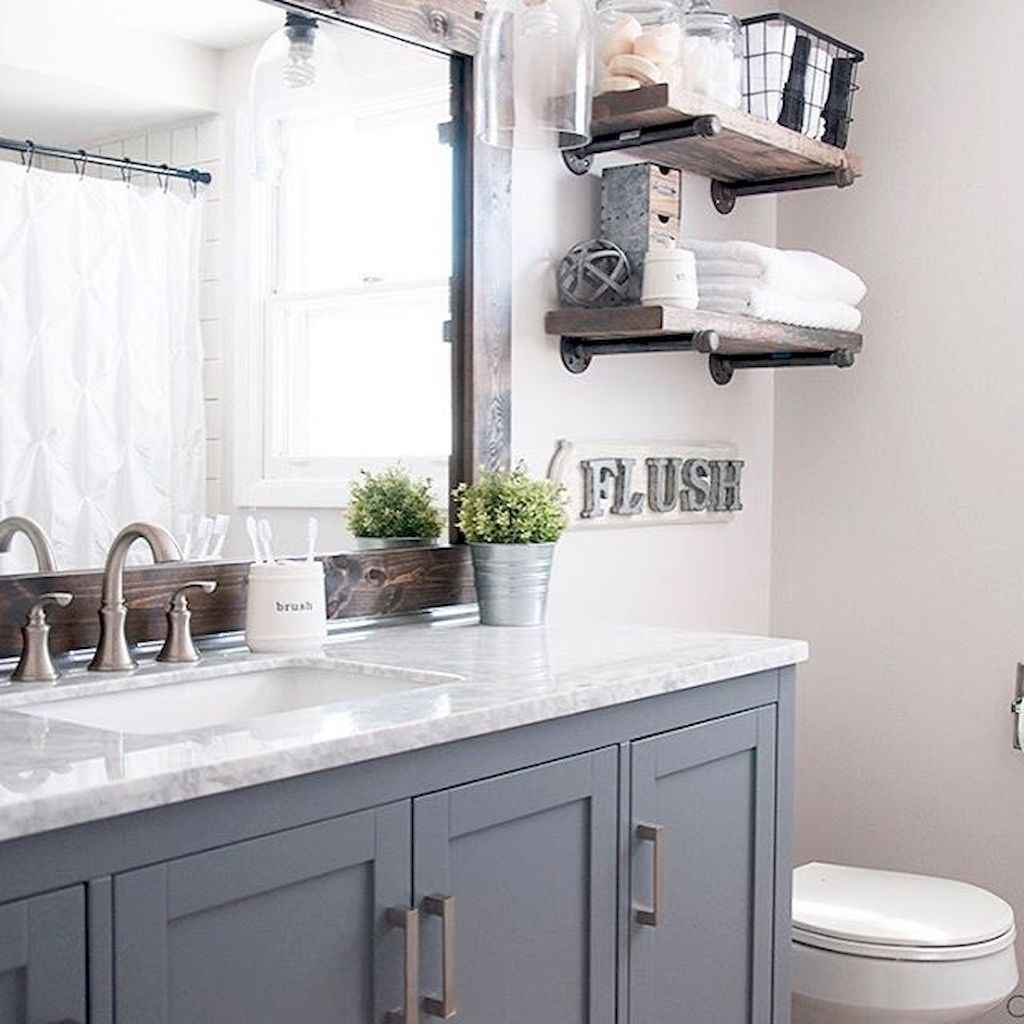 Vintage farmhouse bathroom remodel ideas on a budget (40)