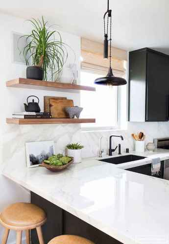 Clever small kitchen remodel and open shelves ideas (59)