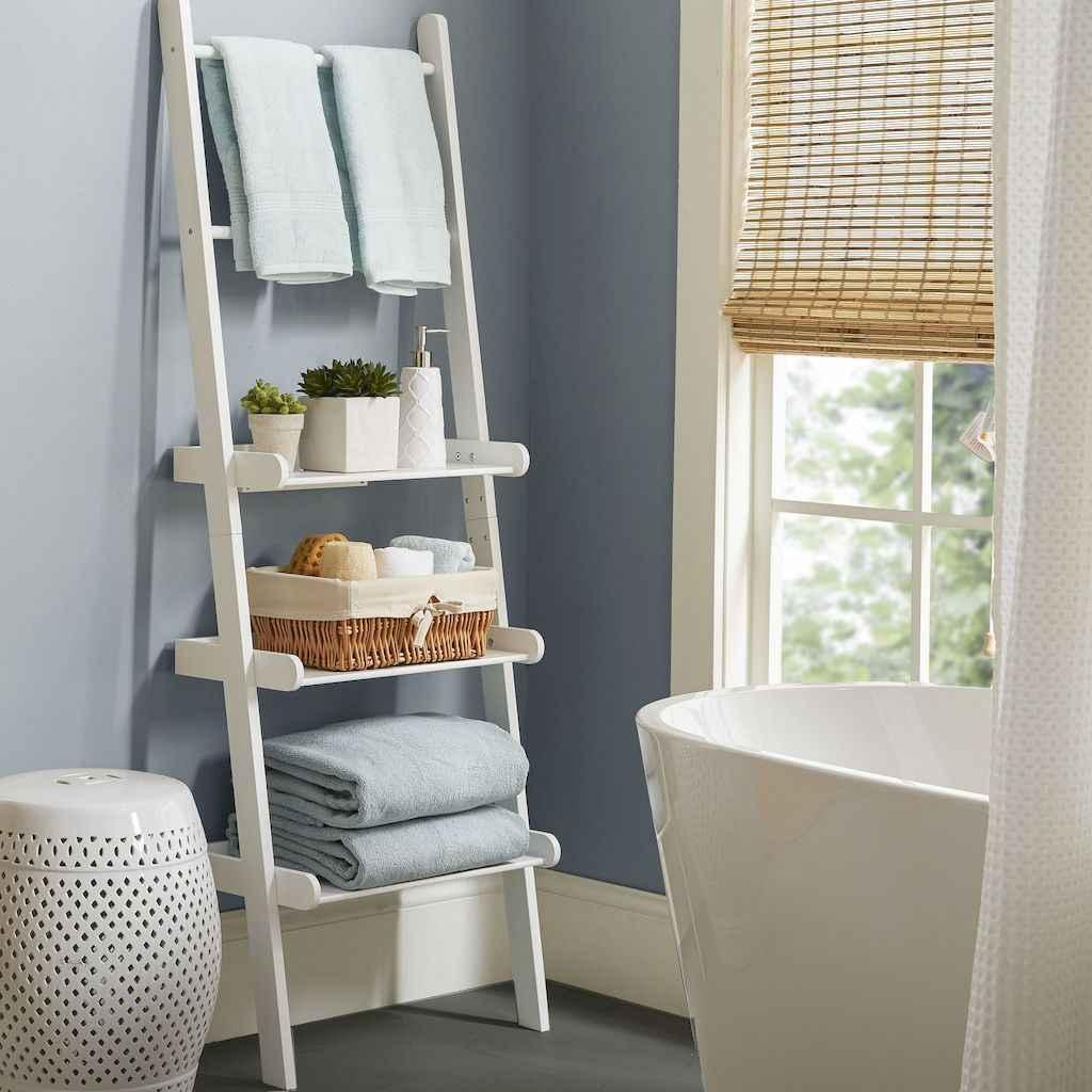 Cool bathroom storage shelves organization ideas (19)