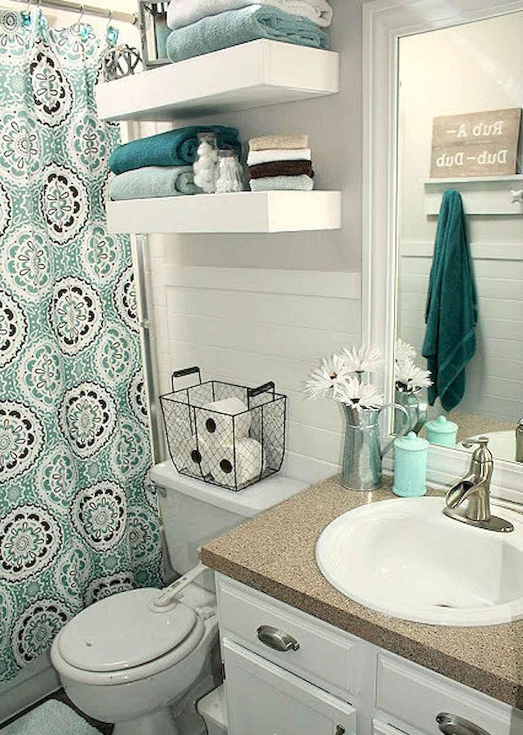 Cool bathroom storage shelves organization ideas (29)