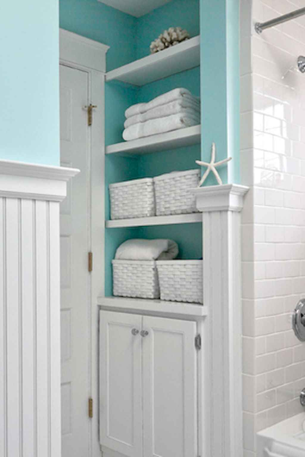 Cool bathroom storage shelves organization ideas (31)