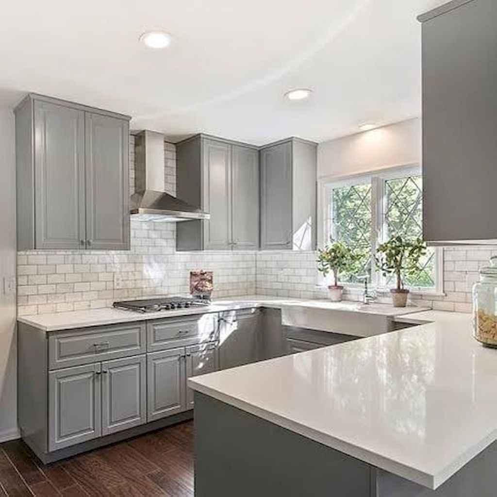 Gorgeous gray kitchen cabinet makeover ideas (27)