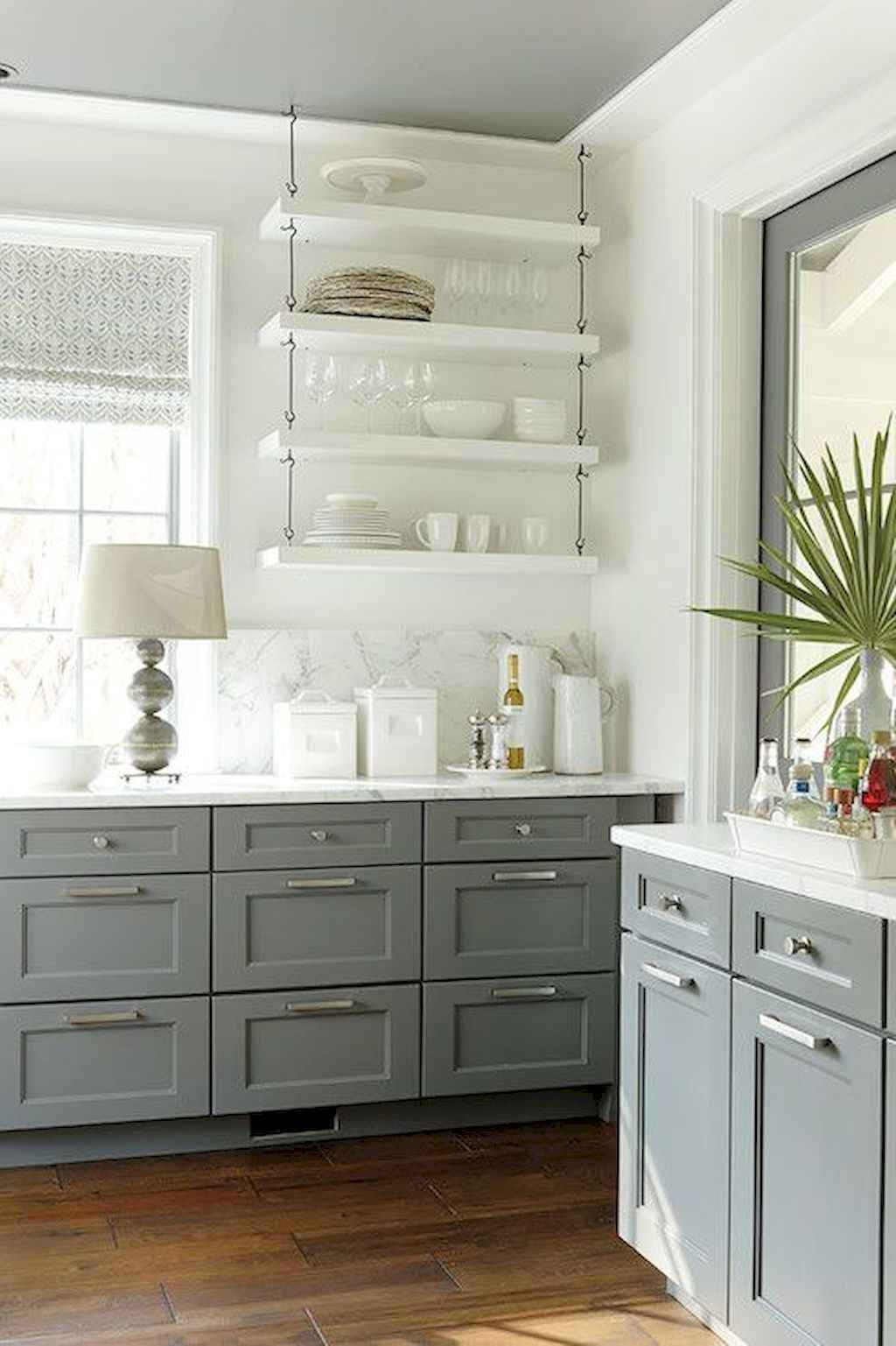 Gorgeous gray kitchen cabinet makeover ideas (55)
