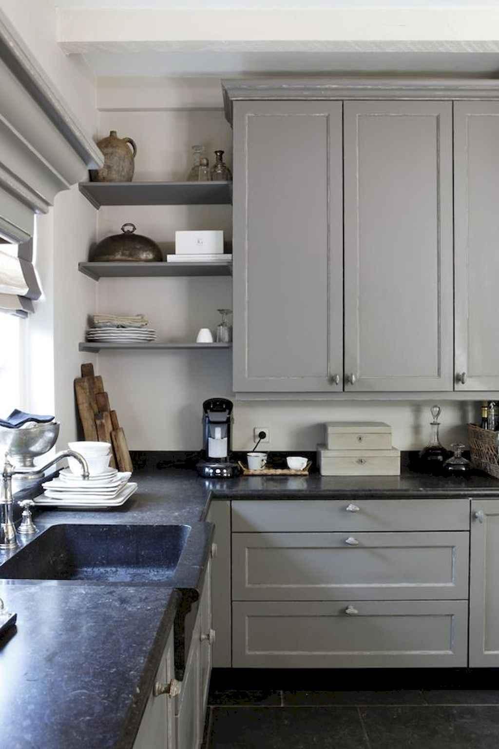 Gorgeous gray kitchen cabinet makeover ideas (61)