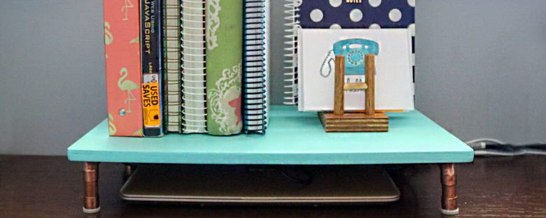 DIY Copper + Wood Laptop Stand | Homespun by Laura | Make more space on your desk! How to build a space-saving shelf for laptop from copper tubing and a piece of scrap wood.