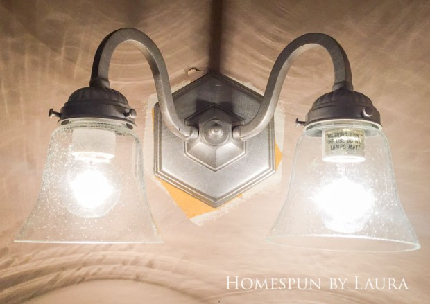 $75 DIY Powder Room (and Pantry!) Update: One Room Challenge Week 3 | Homespun by Laura | Updated light fixture on a budget with spray paint and new bell shade globes
