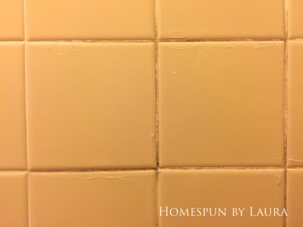 Master Bathroom Refresh | Homespun by Laura | Using home made bleach & baking soda cleaner and a bleach pen to clean gross shower grout