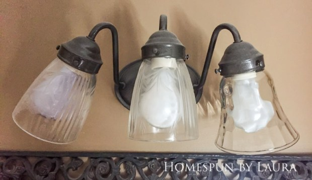 The $200 Master Bathroom Refresh | Homespun by Laura | DIY updated light fixture for under $20 (before)