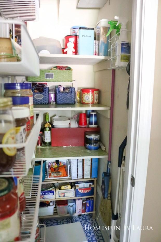 $75 DIY Powder Room (and Pantry!) Update: One Room Challenge Week 6   Homespun by Laura   Organizing the Pantry