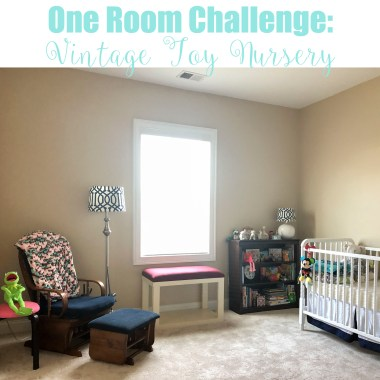 Creating a neutral nursery using vintage toys and old children's books as inexpensive and easy decor over the course of six weeks.