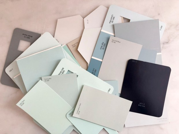 Neutral nursery paint swatches